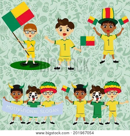 Set of boys with national flags of Benin. Blanks for the day of the flag independence nation day and other public holidays. The guys in sports form with the attributes of the football team