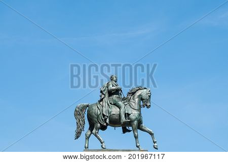 Man On Horse, Horseman Statue Isolated . Frederick Wilhelm