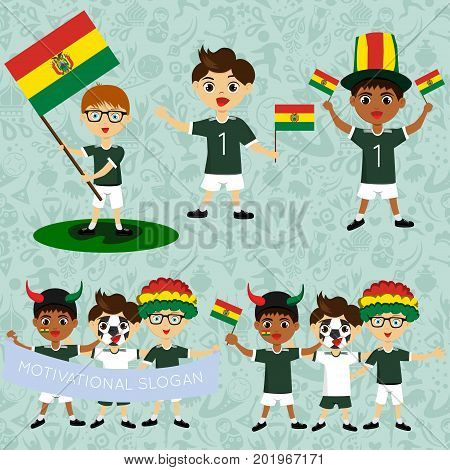Set of boys with national flags of Bolivia. Blanks for the day of the flag independence nation day and other public holidays. The guys in sports form with the attributes of the football team