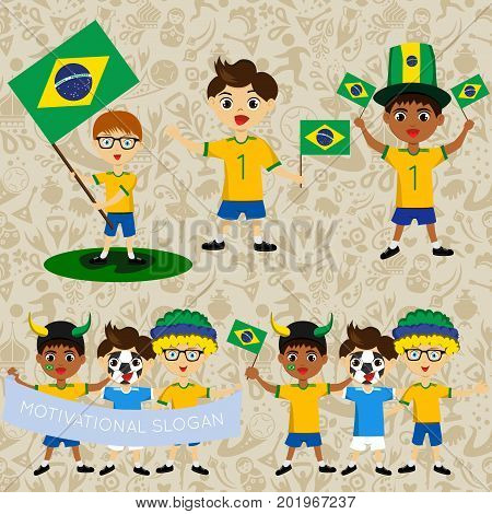 Set of boys with national flags of Brazil. Blanks for the day of the flag independence nation day and other public holidays. The guys in sports form with the attributes of the football team
