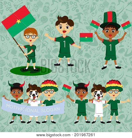 Set of boys with national flags of Burkina faso. Blanks for the day of the flag independence nation day and other public holidays. The guys in sports form with the attributes of the football team