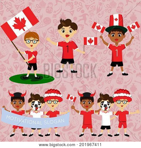 Set of boys with national flags of Canada. Blanks for the day of the flag independence nation day and other public holidays. The guys in sports form with the attributes of the football team