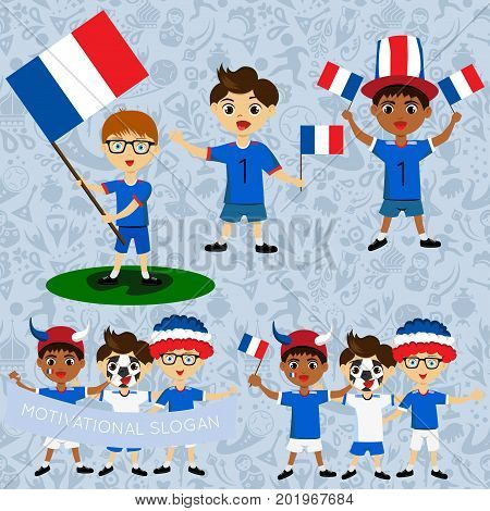 Set of boys with national flags of France. Blanks for the day of the flag independence nation day and other public holidays. The guys in sports form with the attributes of the football team
