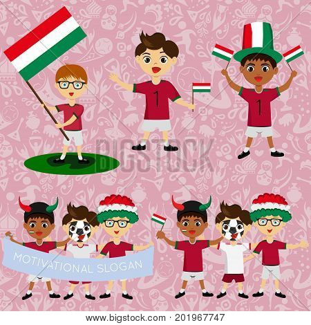 Set of boys with national flags of Hungary. Blanks for the day of the flag independence nation day and other public holidays. The guys in sports form with the attributes of the football team