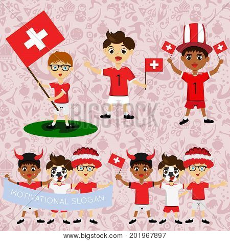 Set of boys with national flags of Switzerland. Blanks for the day of the flag independence nation day and other public holidays. The guys in sports form with the attributes of the football team