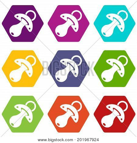 Baby pacifier icon set many color hexahedron isolated on white vector illustration