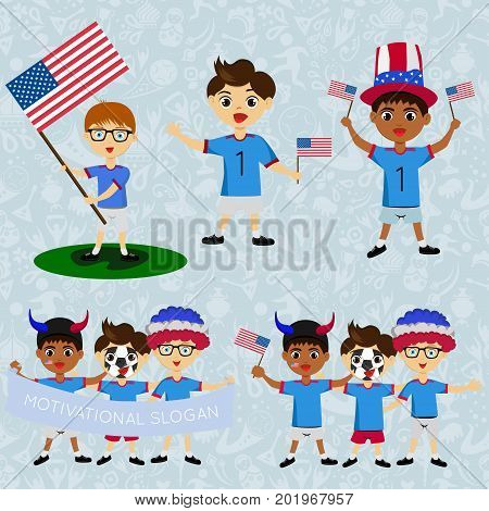 Set of boys with national flags of USA. Blanks for the day of the flag independence nation day and other public holidays. The guys in sports form with the attributes of the football team
