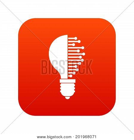 Lightbulb with microcircuit icon digital red for any design isolated on white vector illustration