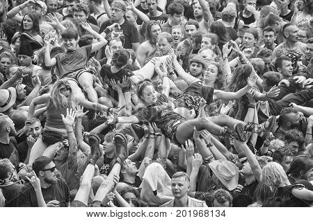 Kostrzyn, Poland - August 05, 2017: People Having Fun At A Concert During The 23Rd Woodstock Festiva