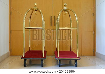 Empty Luggage Carts
