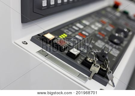 Control panel of CAM (computer-aided manufacturing) equipment. Selective focus.