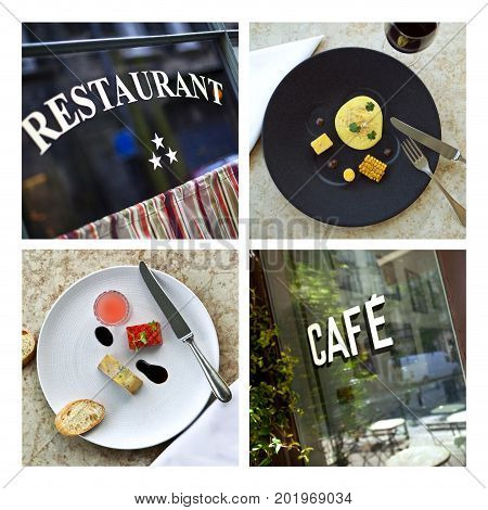 Collage of French classic bistro and dishes