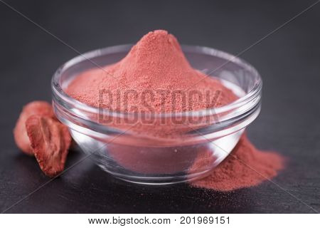 Rustic Slate Slab With Strawberry Powder, Selective Focus