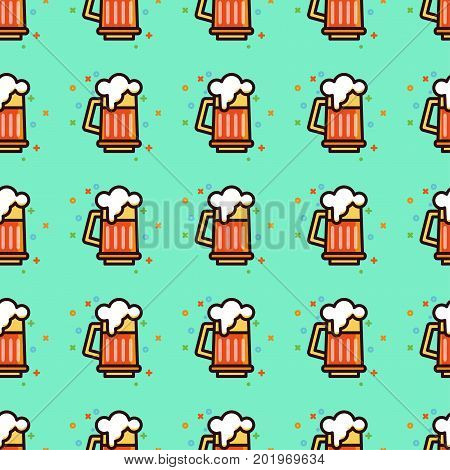 Seamless pattern with foam beer in large mugs Fashionable Ornamnet for bar pub octoberfest festival. Texture for scrapbooking, wrapping paper textile web page textile wallpaper surface design fashion