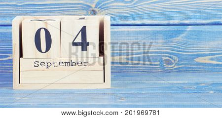 Vintage Photo, September 4Th. Date Of 4 September On Wooden Cube Calendar