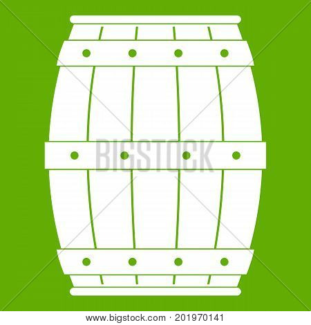 Wooden barrel icon white isolated on green background. Vector illustration