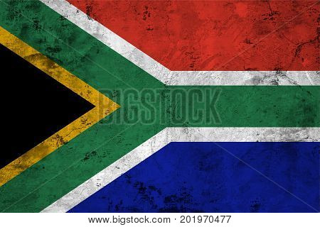 Flag of the Republic of South Africa (RSA) against the background of the stone texture