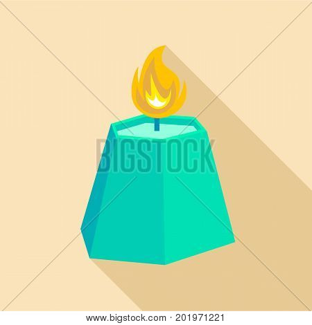 Hexagon candle icon. Flat illustration of hexagon candle vector icon for web