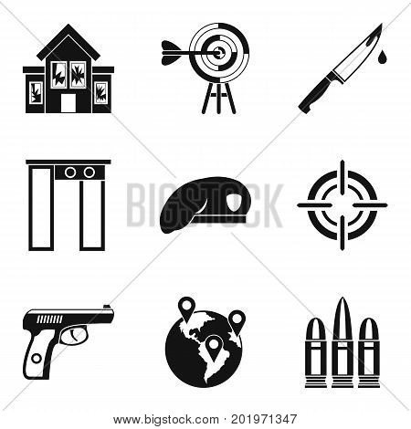Mobster icons set. Simple set of 9 mobster vector icons for web isolated on white background