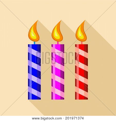 Three candle icon. Flat illustration of three candle vector icon for web