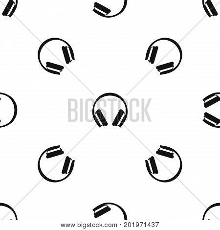 Protective headphones pattern repeat seamless in black color for any design. Vector geometric illustration