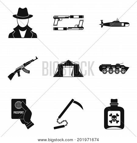 Delinquent icons set. Simple set of 9 delinquent vector icons for web isolated on white background