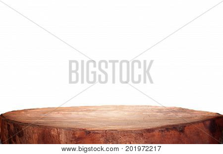 Empty Wooden stump table isolated on white.