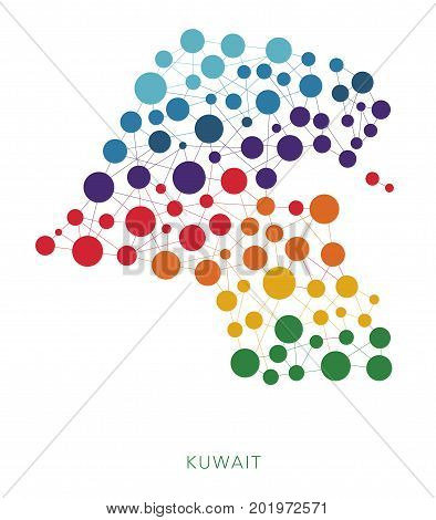dotted texture Kuwait vector rainbow colorful background