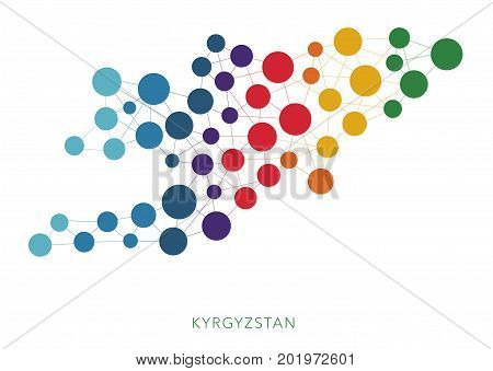 dotted texture Kyrgyzstan vector rainbow colorful background