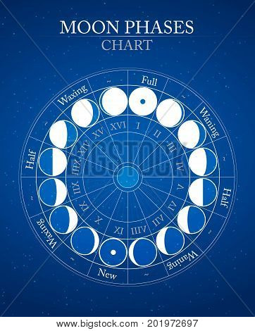 moon phases flat vector background on blue