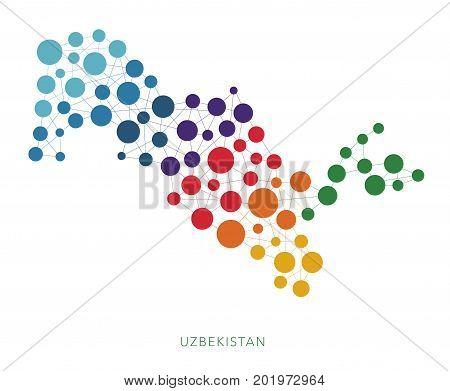 dotted texture Uzbekistan vector rainbow colorful background