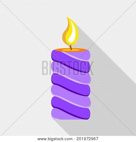Purple candle icon. Flat illustration of purple candle vector icon for web