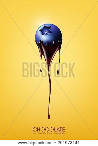 Blueberry dipped in melting dark chocolate, fruit, fondue recipe concept, Vector illustration