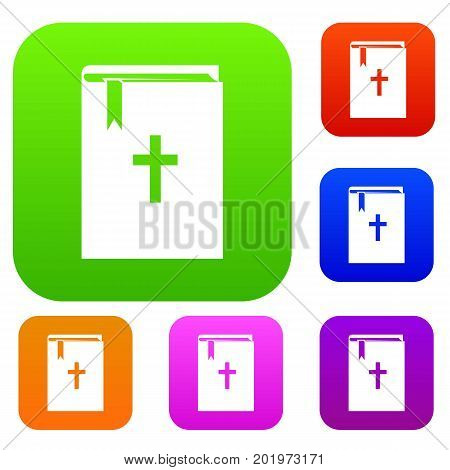 Bible set icon in different colors isolated vector illustration. Premium collection