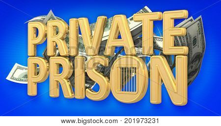 Private Prison Concept 3D Illustration