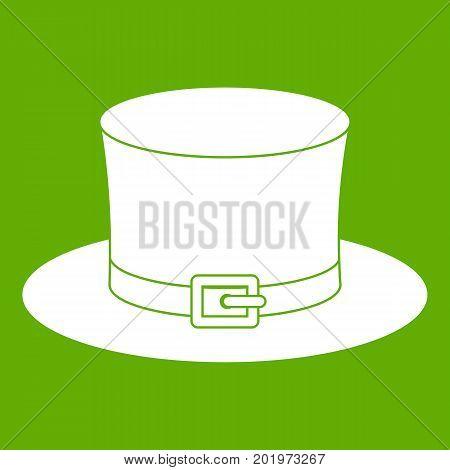 Leprechaun hat icon white isolated on green background. Vector illustration