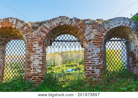 Village Legostaeva Iskitim district Novosibirsk oblast Siberia Russia - August 27 2017: the remains of the building of Michael the Archangel Church (built in 1804)