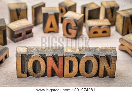 London word abstract in vintage letterpress wood type printing blocks