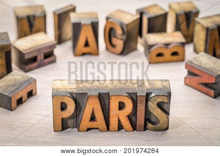 Paris word abstract in vintage letterpress wood type printing blocks