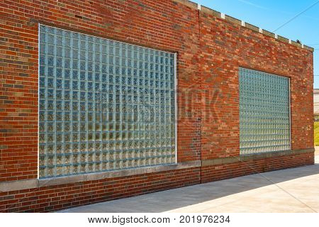 Newly installed glass block windows in a brick building
