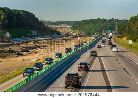 BEDFORD HEIGHTS OH - JUNE 28 2017: Diverted northbound traffic on I-271 near Cleveland during major highway work leaves makes for a challenging morning rush hour.