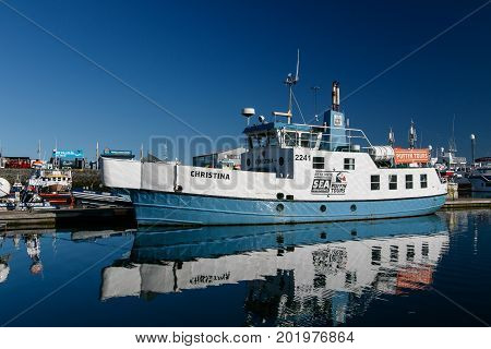 Reykjavik Iceland August 20 2017: Christina - a boat used for taking tourists on puffin tours is docked in port.