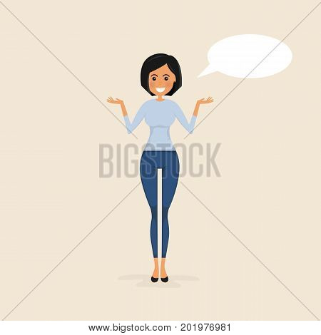 Young woman with a speech bubble on a background.Comic woman with speech bubble.Sexy girl.Woman making a presentation at office.Business executive delivering a presentation to her colleagues during meeting or in-house business training.Vector illustration