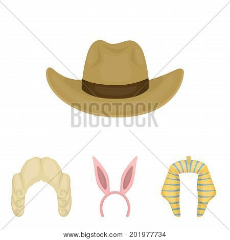 Rabbit ears, judge wig, cowboy. Hats set collection icons in cartoon style vector symbol stock illustration .