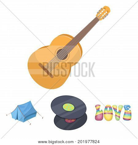 Vinyl discs, guitar, tent.Hippy set collection icons in cartoon style vector symbol stock illustration.