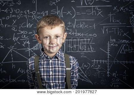 caucasian young student and blackboard background