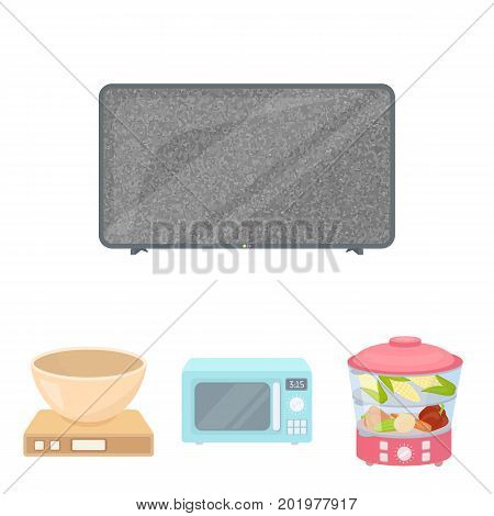 Steamer, microwave oven, scales, lcd tv.Household set collection icons in cartoon style vector symbol stock illustration .