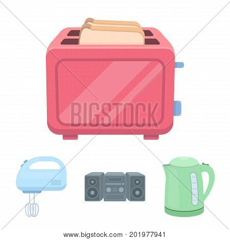 Electric kettle, music center, mixer, toaster.Household set collection icons in cartoon style vector symbol stock illustration .