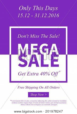 Vector promotional Mega Sale banner for online stores websites retail posters social media ads. Creative banner layout for m-commerce promotions newsletters sale materials coupons advertising.