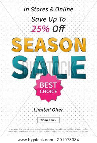 Banner Season Sale vector illustration. Creative banner layout for m-commerce mobile promotions retail sale materials coupons advertising.